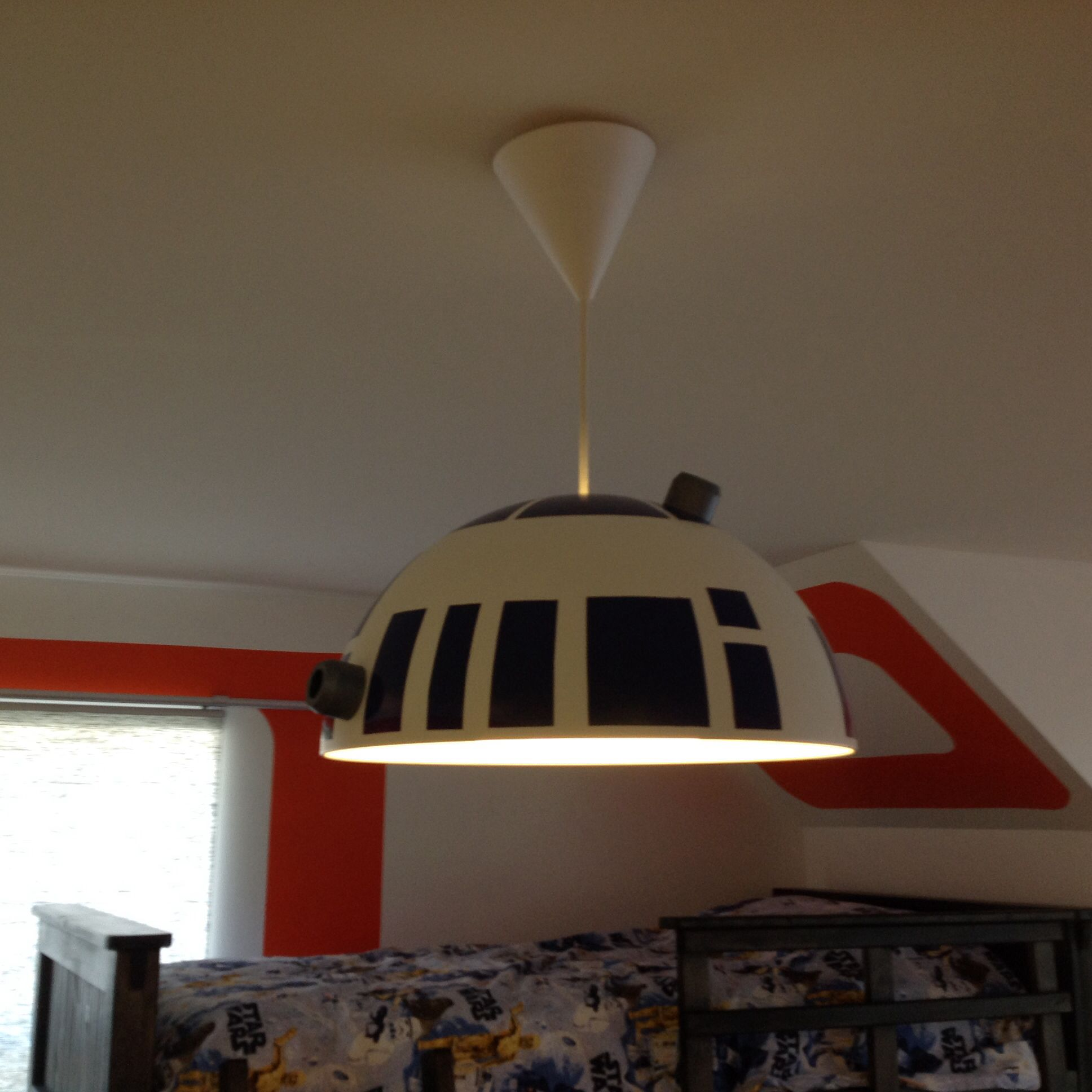 Space Themed Lamp Star Wars Inspired Bedroom For 7 Year Old Boy R2d2