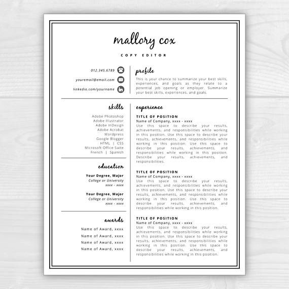 Resume Template with Icons for Microsoft Word \ Mac Pages Mallory - mac pages resume templates