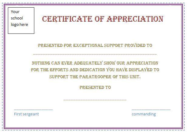 free certificate appreciation template purple border employee - sample certificate of appreciation