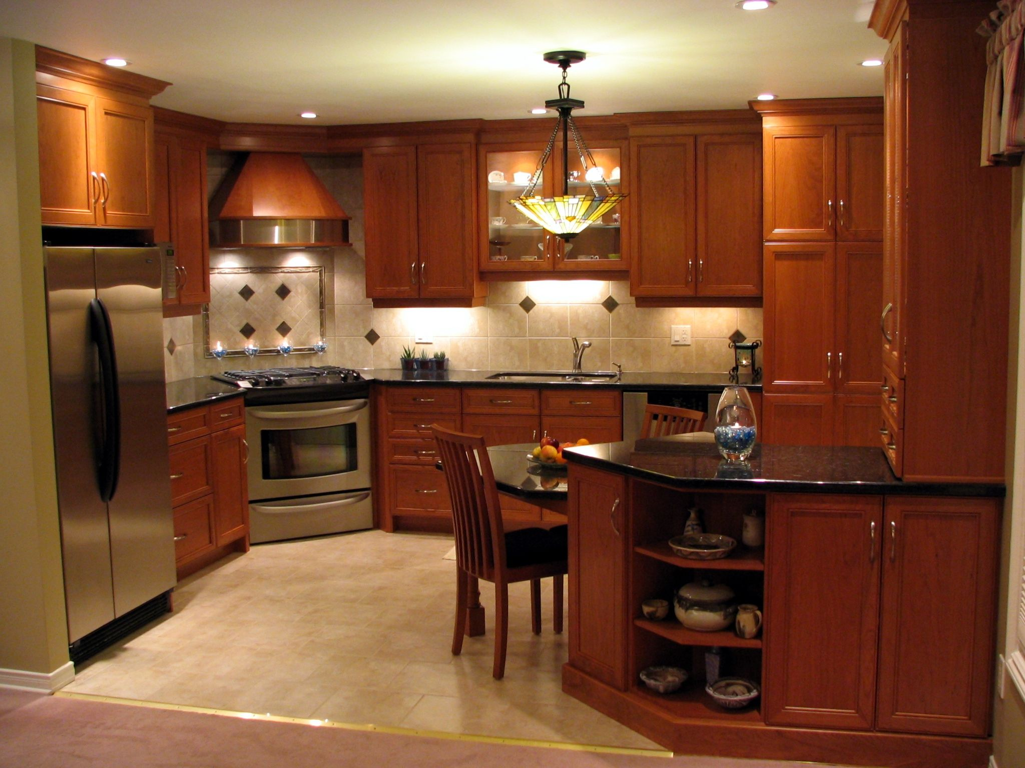 Recessed panel cherry cabinets nutmeg stain finish