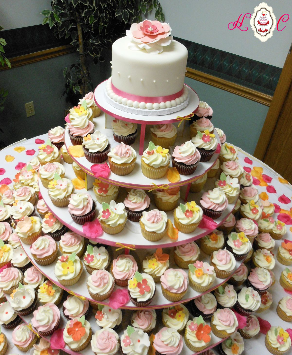wedding cupcake ideas cupcake wedding cakes Cupcake Tower by Heavenly Confections Serving Marietta Wedding Cakes