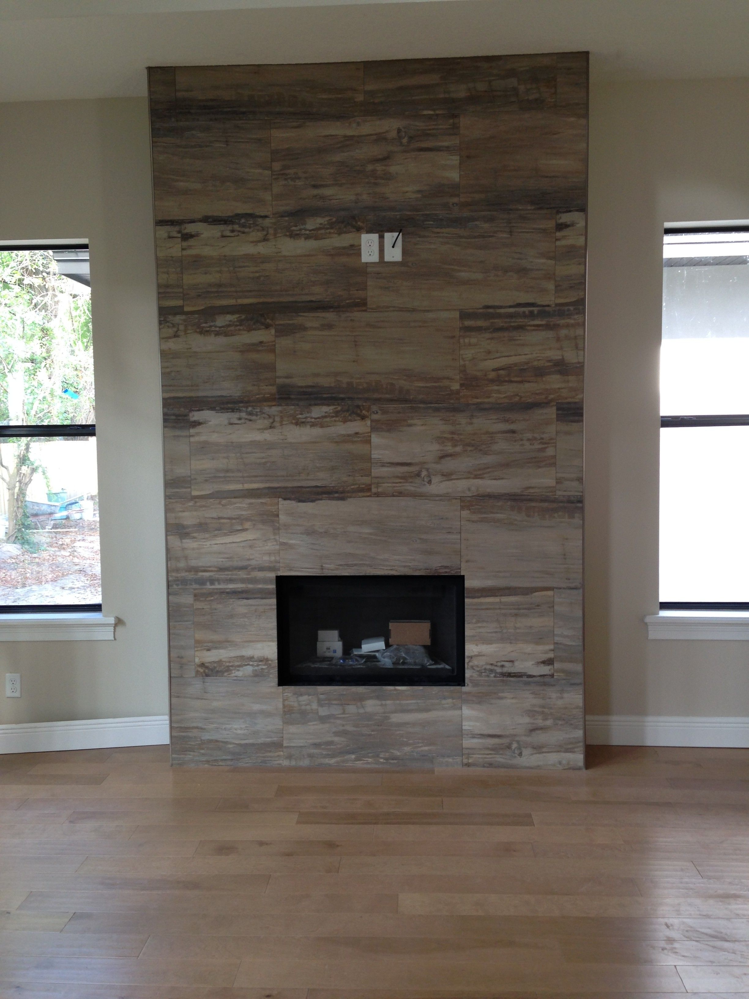 Fireplace Finishes Ideas J Wood Tile Makes An Absolutely Stunning Fireplace