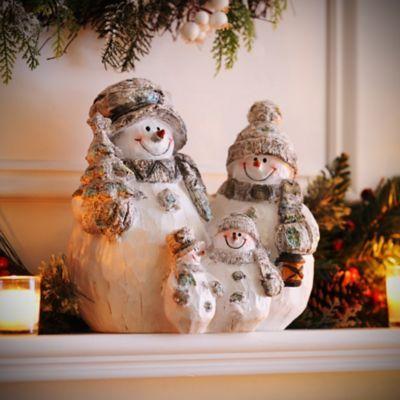 Frosty Snowman Family Statue Snowman and Christmas tree - kirklands christmas decor