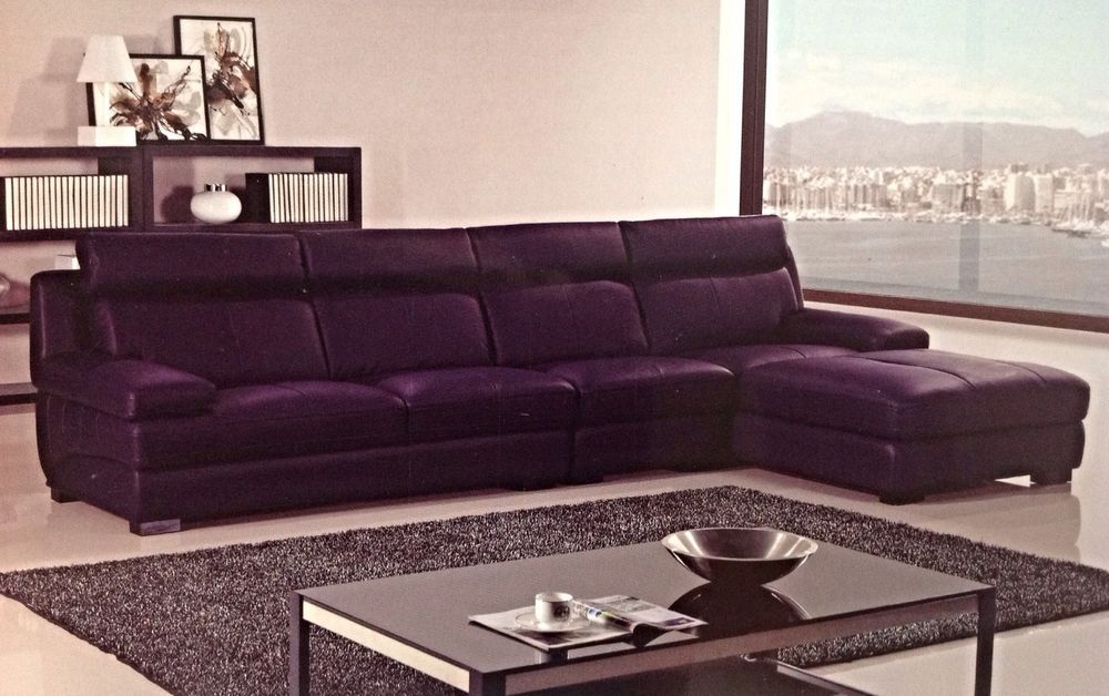 Modern Contemporary Euro Dark Purple Leather Sectional Sofa Chaise - purple living room set