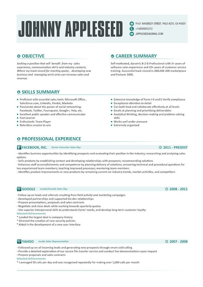 Resume Template, Johnny Appleseed Modern Resume Template With - office skills resume