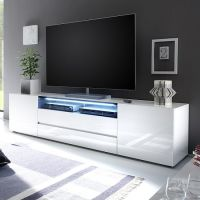 Genie Wide LCD TV Stand In White High Gloss With 2 Doors ...
