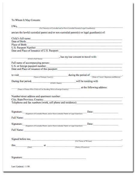 Child Travel Consent Form Usa Child Travel Consent Child Travel - passport consent forms
