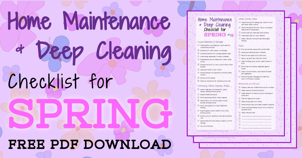 Home Maintenance \ Deep Cleaning Checklist for Spring - spring cleaning checklist