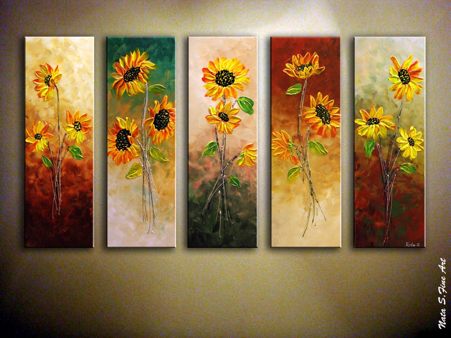 Large Vertical Paintings Oversized Abstract Sunflower Painting Palette Knife