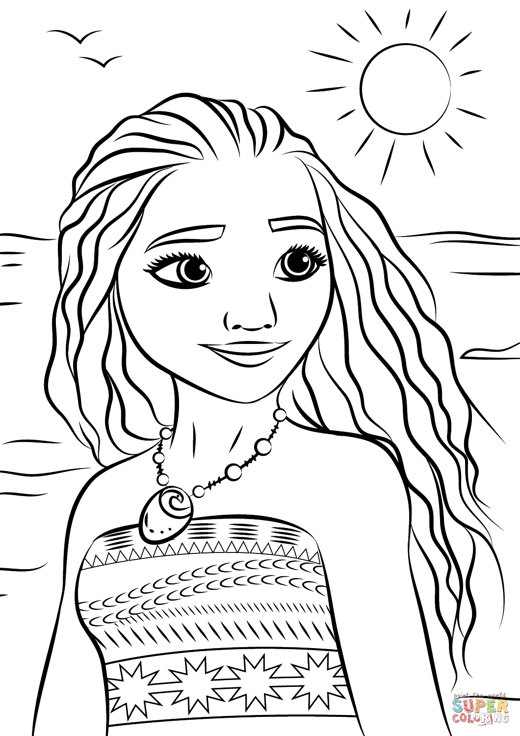 Princess moana portrait disney coloring pages printable and coloring book to print for free find more coloring pages online for kids and adults of princess
