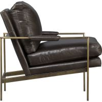 Milo Classic Leather Brass Lounge Chair in Chairs | Crate ...