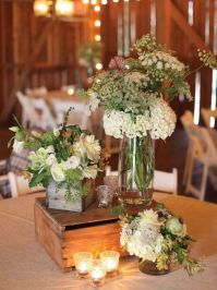 Rustic Wedding Table Setting With Wooden boxes and Flower ...