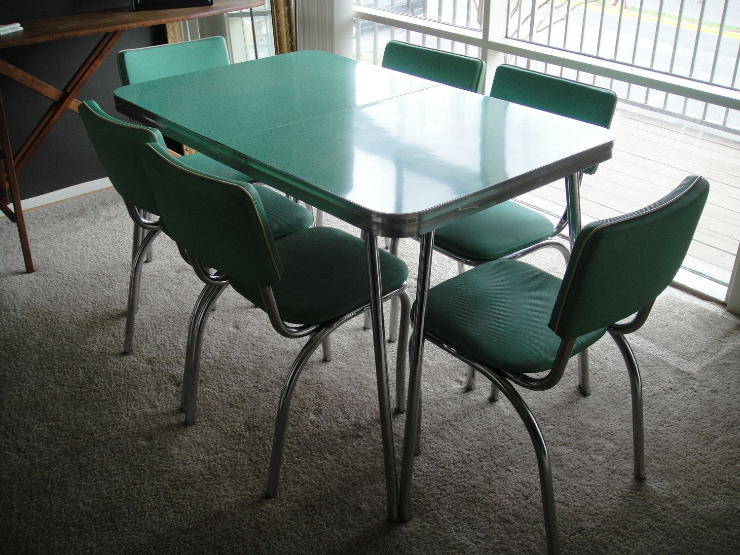 vintage kitchen tables RESERVED s Kitchen Table and Chairs Mint Dining Set with Six Chairs Formica with Chrome Legs and Details PICK UP ONLy