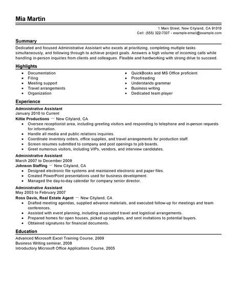 Resume Summary Examples For Administrative Assistants - executive assistant resume summary
