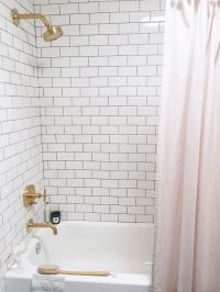 white subway tile and blush pink shower curtain | Bathroom ...