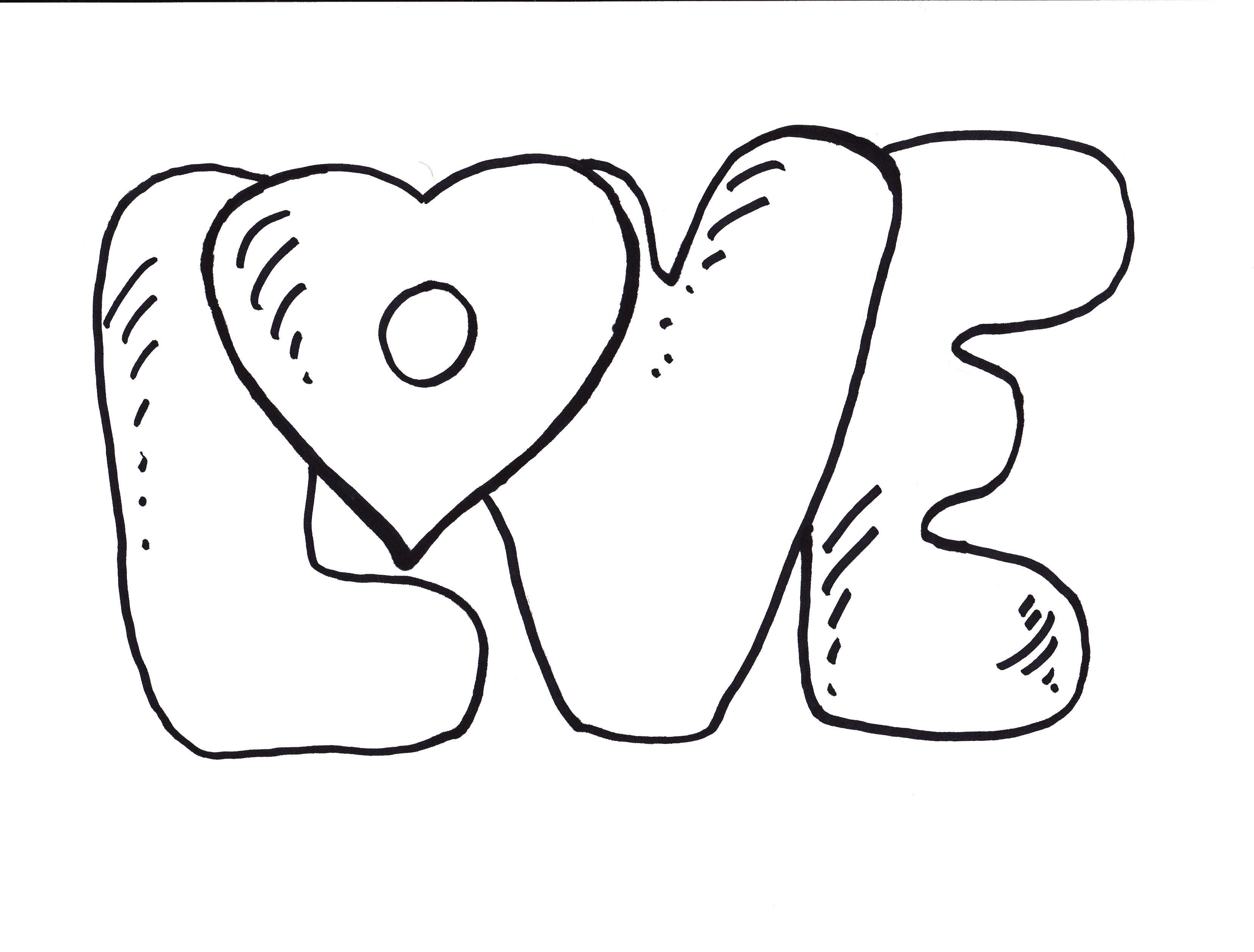 Coloring pages of the word love