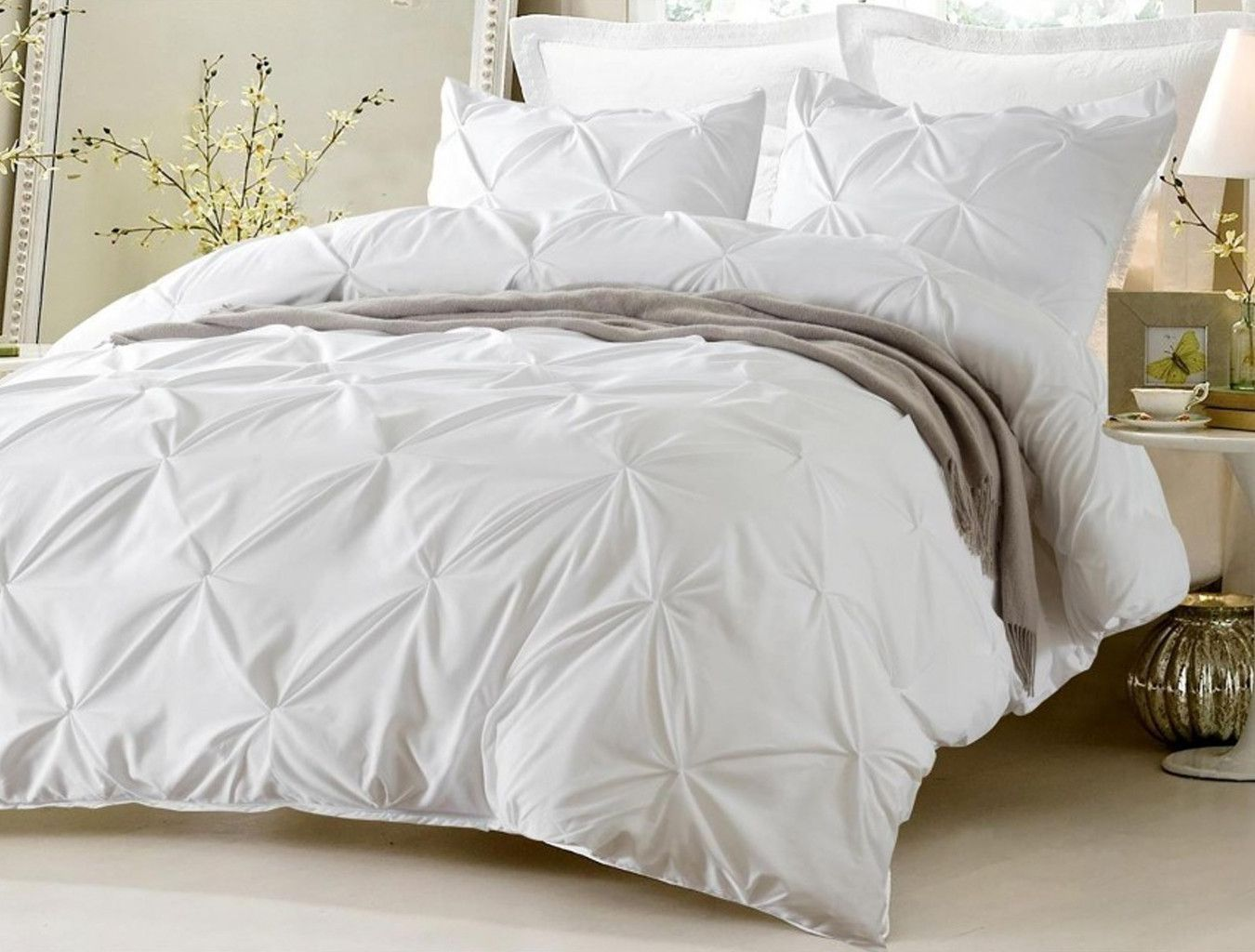 White Duvet Cover King Pinch Pleat Design White Duvet Cover Set Style 1006