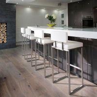 Set of 4 luxury white kitchen breakfast bar stool/seat ...