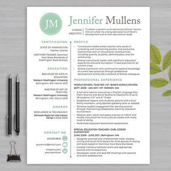 RESUME TEACHER Template For MS Word + Educator Resume Writing - teacher resumes templates