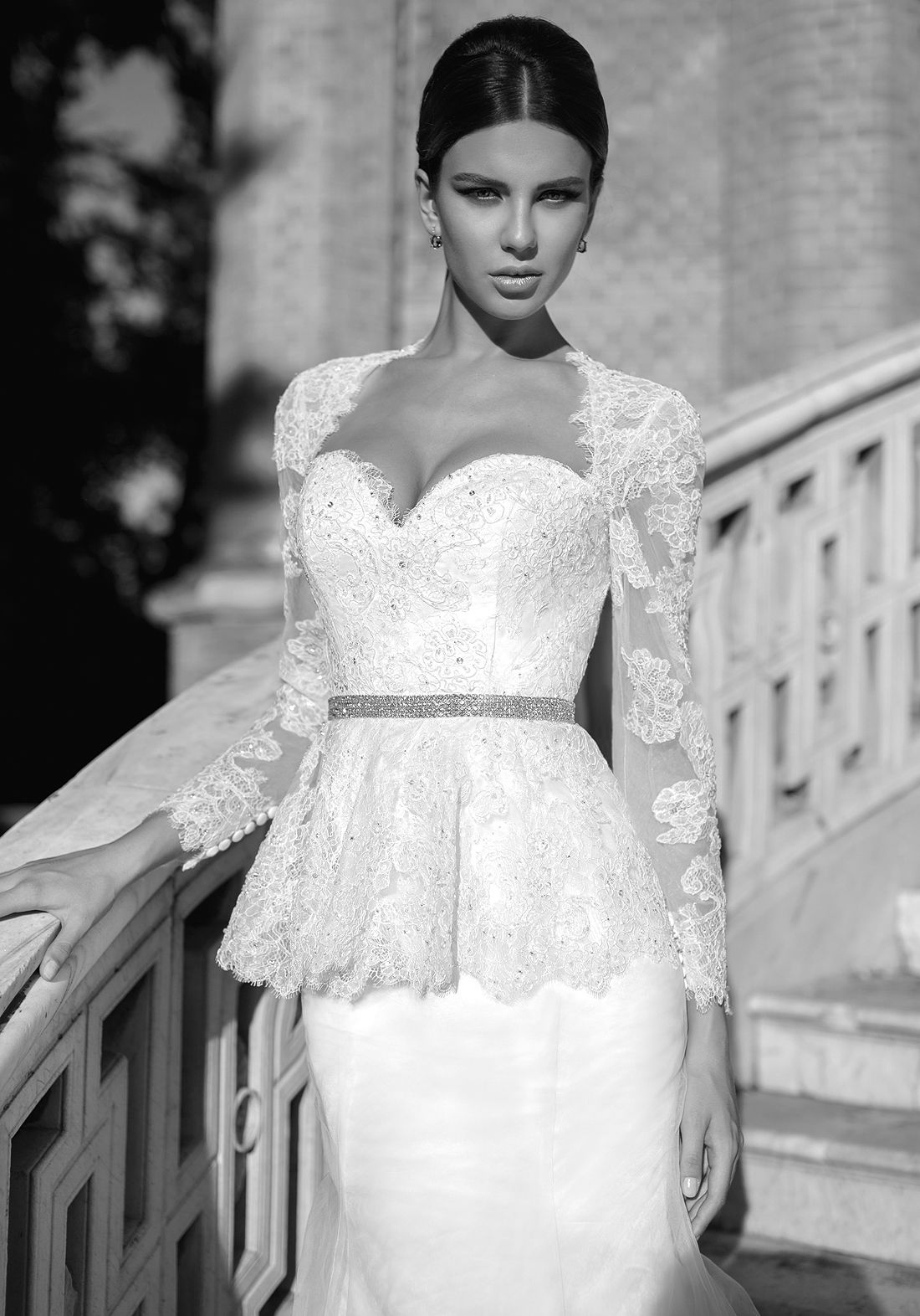 heart shaped wedding dress ISABEL sensual open back mermaid wedding dress with lace peplum crystals around the