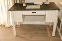 Farmhouse style computer desk, distressed antique white ...