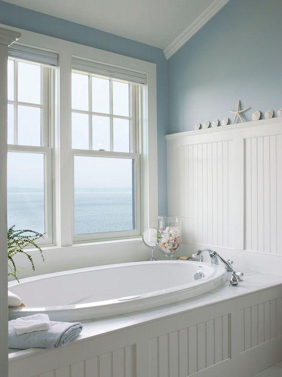 Cottage Master Bathroom with Drop-In Bathtub, Beadboard - beadboard bathroom ideas