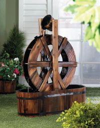 Spinning Wood Outdoor Water Mill Fountains Waterfall ...