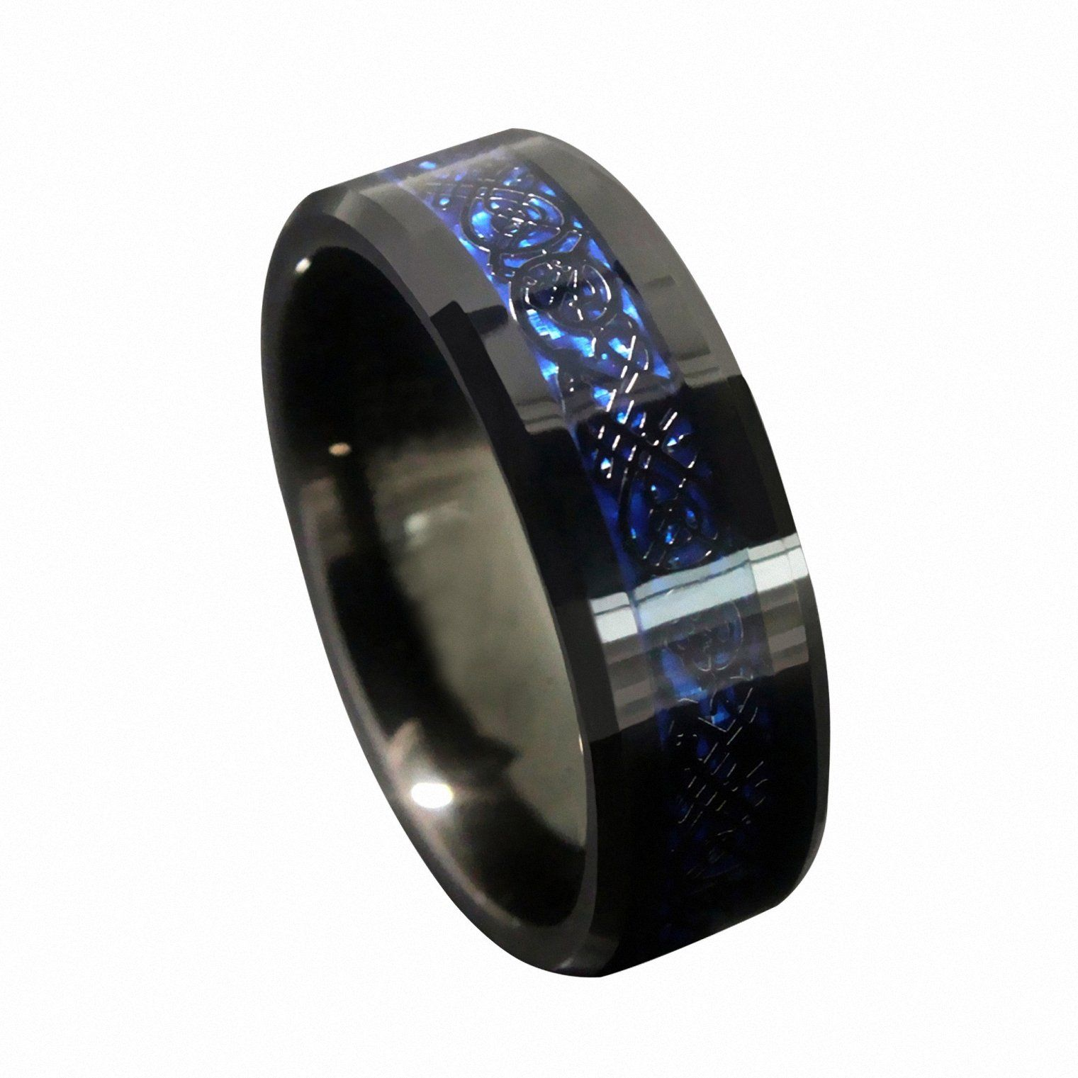 cobalt wedding rings Queenwish 8mm Blue Black Silvering Celtic Dragon Tungsten Carbide Ring Wedding Band Mens Jewelry Size 8