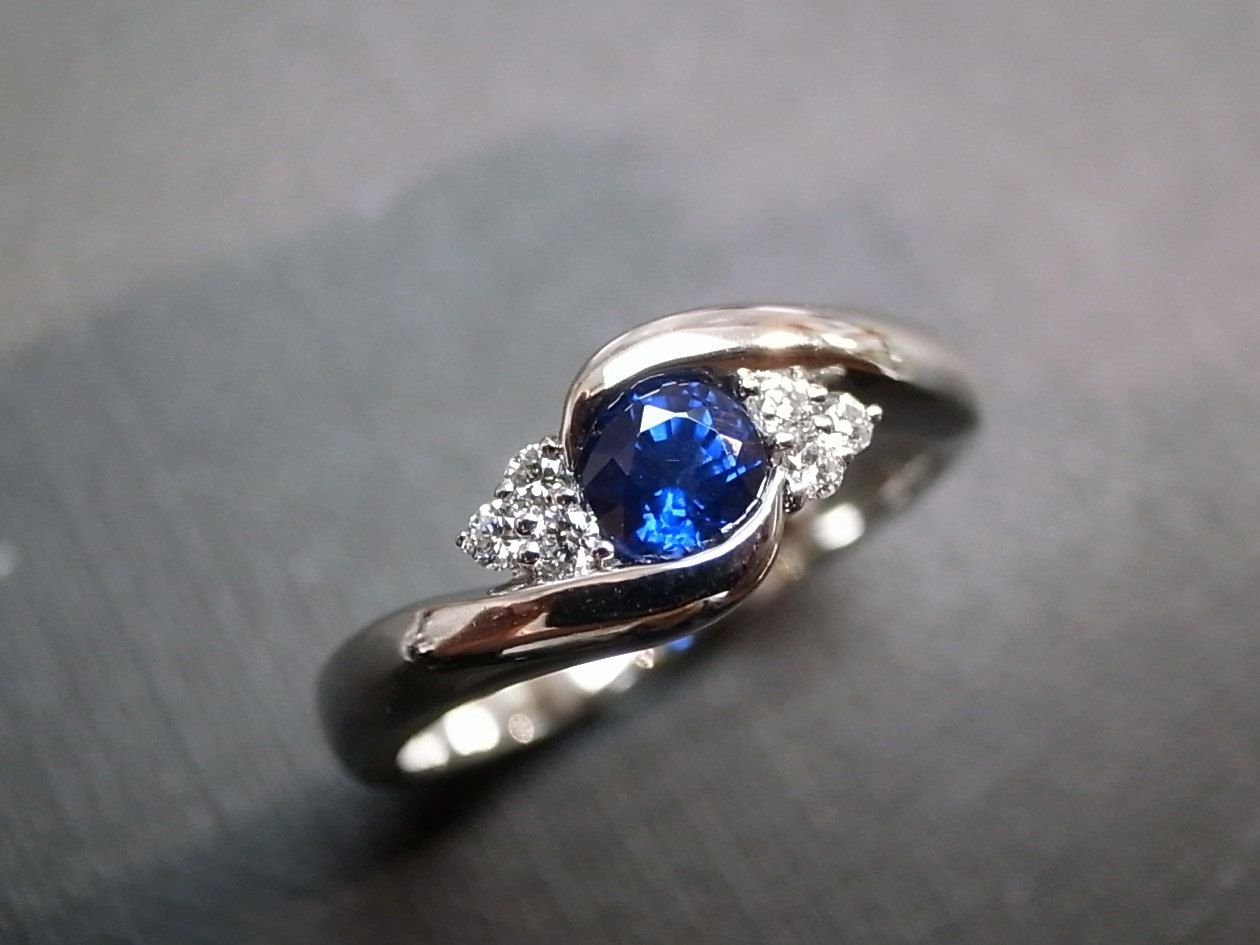 dolphin wedding rings Blue Sapphire Rings Diamond Rings Engagement Rings Wedding Band Gemstone Rings Women Jewelry Personalized Jewelry 14K White Gold
