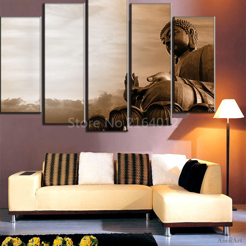 5 Pieces Wall Art Large Buddha Statue Canvas Painting On Canvas - living room statues