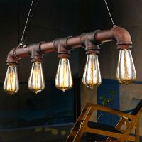 Industrial steampunk ceiling light hanging lamp iron pipe ...