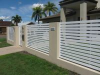 modern fence designs metal with concrete walls