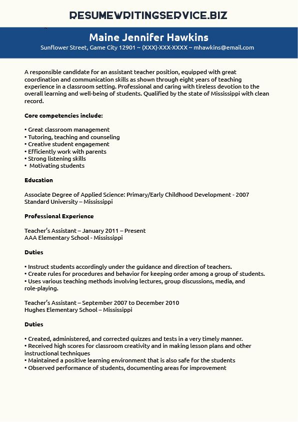 Teaching Assistant Resume Sample Student\/Career Pinterest - teaching assistant resume