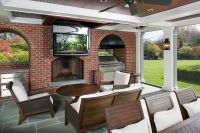 Outdoor Living Area With Ceiling Drop Down TV - this is ...