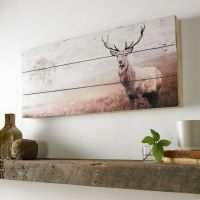 Stag Print On Wood Wall Art Wall Art by Graham and Brown