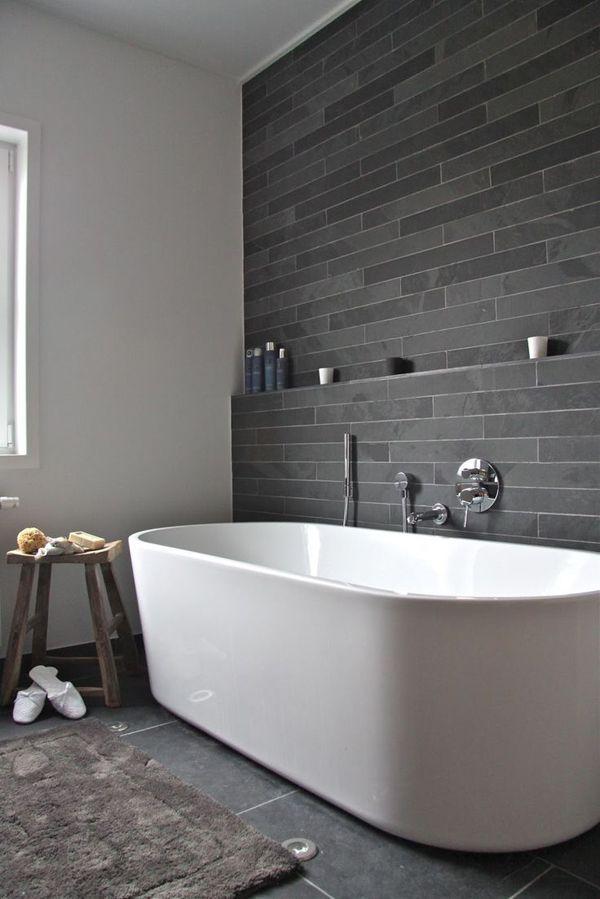 Bathroom Wall Tile Cream White Ceramic Tile Bathroom With Soaker Badezimmer  1980