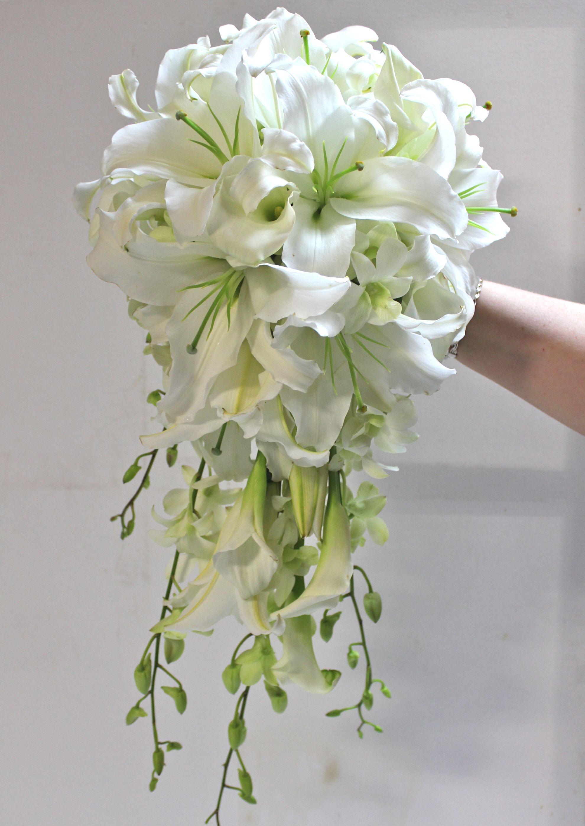wedding bouquet White Wedding Flowers Bridal Bouquet wedding bouquet of White Oriental Lilies and