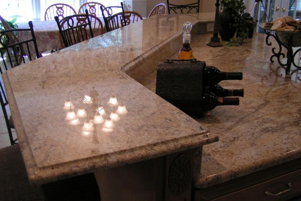 Ogee Edge Profile, Granite Counter Top & Double Level Snack Bar
