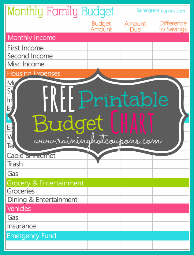 simple blank monthly budget template
