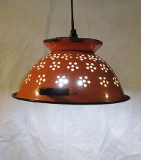 Vintage colandar, upcycled pendant light, repurposed ...