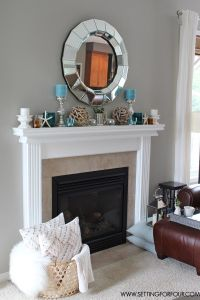 Mantel Decor Ideas : Blue, Taupe and White Palette ...