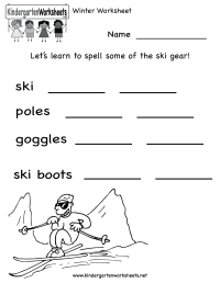 Kindergarten Winter Worksheet Printable