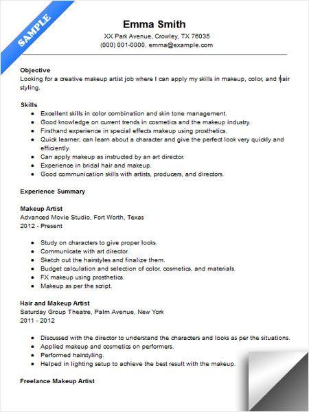 Makeup Artist Resume Sample Resume Examples Pinterest Artist - cosmetologist resume sample