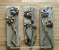 Driftwood Trio. Driftwood art, pebble art, beach decor ...