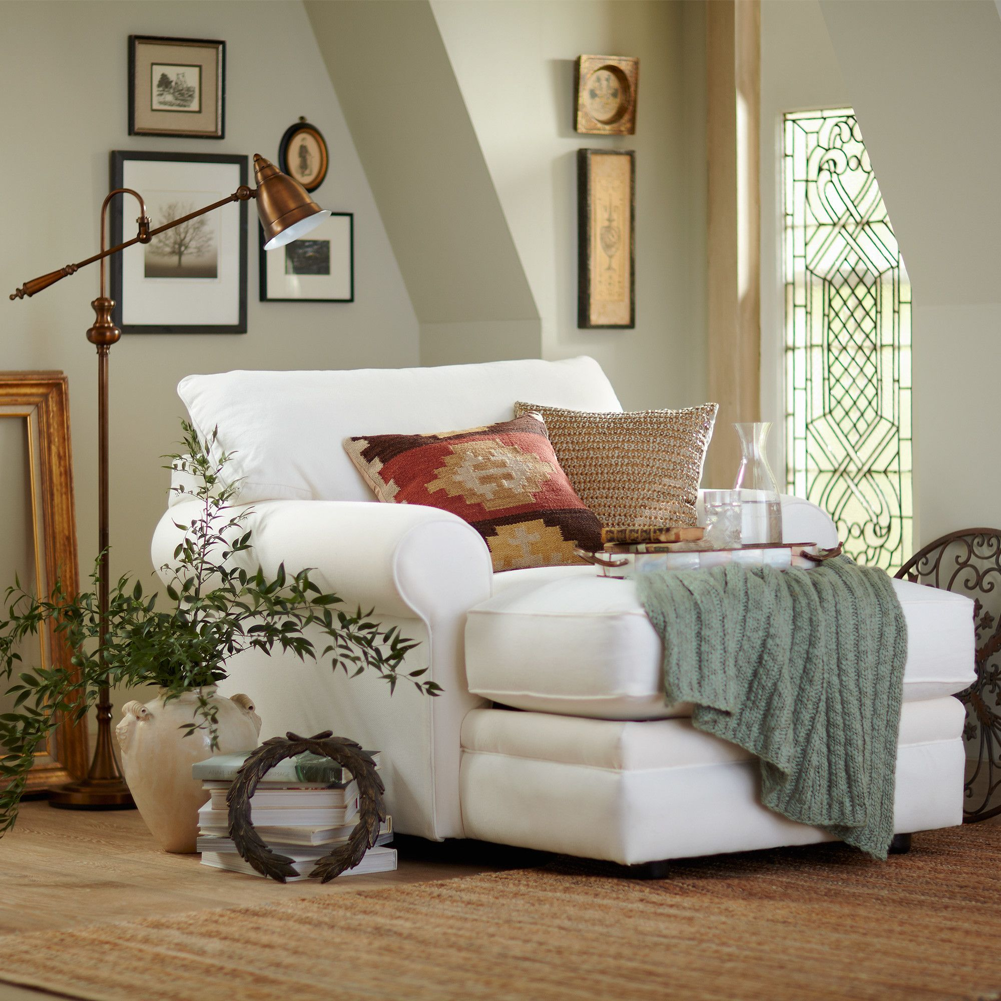 Comfy Room Chairs Newton Chaise With Rolled Arms A Loose Back Pillow And
