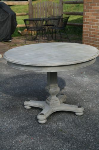 redo kitchen table Primitive Proper Weathered Paris Gray Dining Table using Briwax