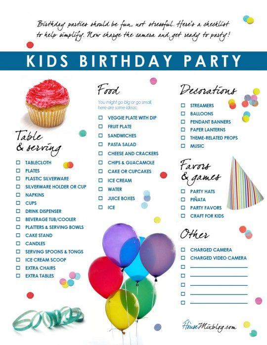 Kids birthday party checklist Birthdays, Birthday party ideas - birthday planner template
