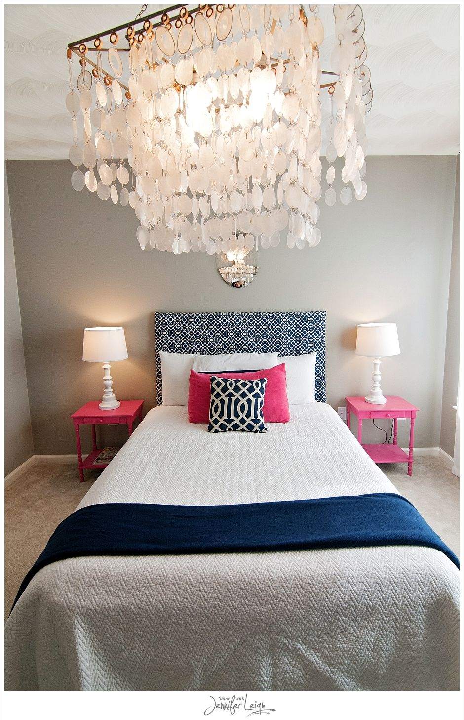 Navy and pink bedroom with chandelier how could you say no to this this has