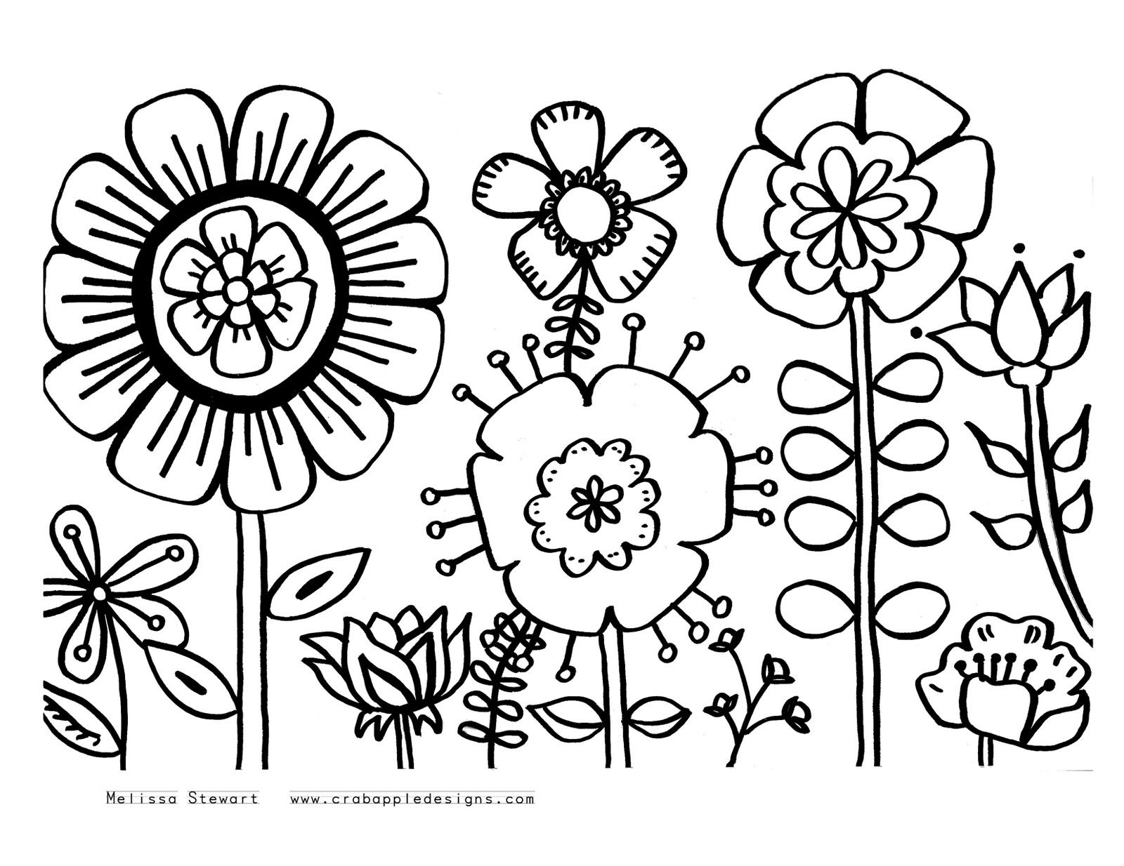 Flower coloring pages paint sample butterflies doodling ideas