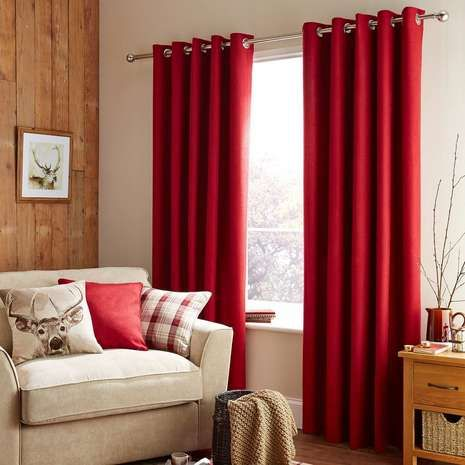 Featuring a deep red tone and a woven texture, these eyelet - red curtains for living room